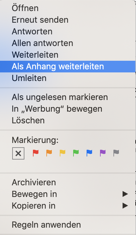 Mac Mail Kontextmenü - als Anhang weiterleiten