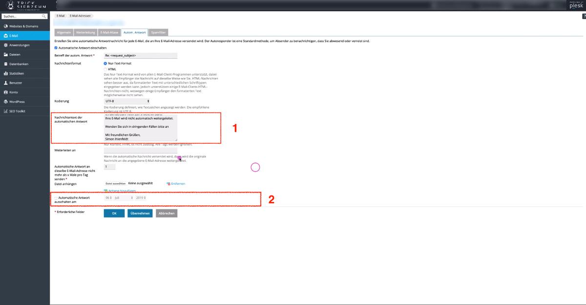 Screenshot Einstellungen Automatische Antwort